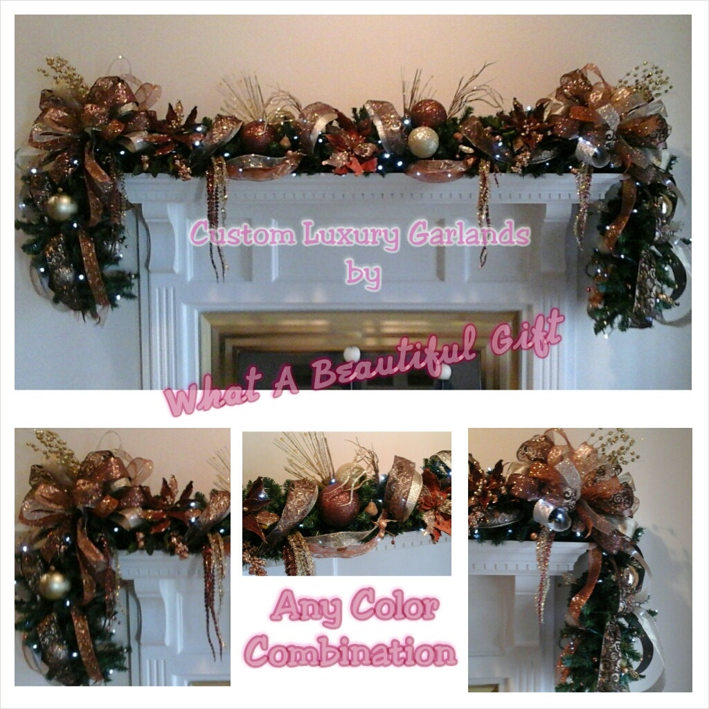 Christmas mantel garland swag shipping includedelegant for Christmas swags and garlands to make