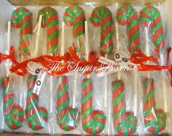 CANDY CANE CHOCOLATE Lollipops*12 Count*Christmas Favor*Stocking Stuffer*Secret Santa Gift*Hostess Gift*Kids Holiday Party*Candy Land Favor