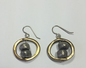 Chicos vintage earrings ~ Muted silver ball beads and Gold circle ~ two tone gold and silver