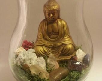 Healing, meditative moss Buddhist Terrarium with healing crystals, Chakra garden, rock terrarium,  moss terrarium,  Zen Garden