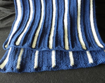 Navy Blanket with White Pin Stripes Hand Crocheted