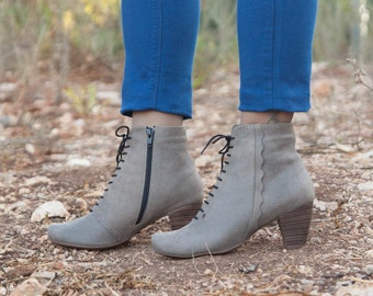 Grey Leather Boots, Ankle Boots, Leather Booties, Grey Boots, Winter Shoes, Grey Shoes, Stonewash, Lace Boots , Free Shipping