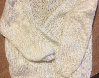 Vintage white baby crossover sweater- knotted