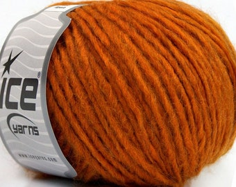 Merino wool yarn, Rust orange gold Worsted Weight Aran Weight Knitting wool, alpaca blend yarn, doll making yarn hair, hand knitting yarn