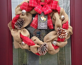 Christmas Wreath, Burlap Wreath, Merry Christmas, Wreath, Christmas Decorations, Decorations, Holiday Wreath