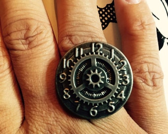 NEW! Steampunk Clock ring with Gear Accent  // Adjustable // Antique Silver