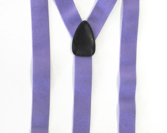Combination  Suspender / Braces   Set Wear Pant Buttons Or Clips All Provided  Lavender Purple In Color
