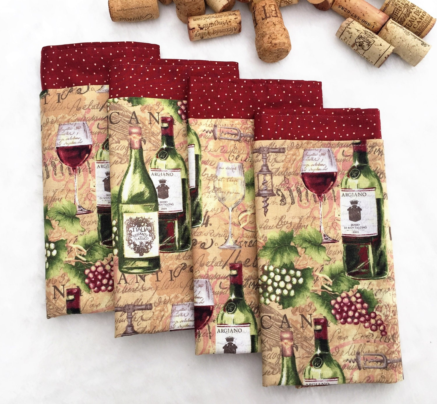 Fabric Napkins Wine Themed Napkins Table Cloth Double Sided