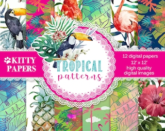 """Tropical digital paper : """" Tropical Patterns """" summer digital paper with tropical flowers, birds and colors, flamingo digital paper"""