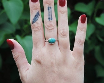 Sterling Silver Chinese Turquoise Matrix Stone Ring