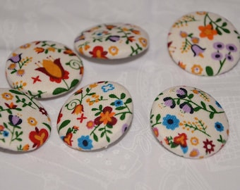 Fabric Buttons - Hungarian Floral Tulip Spring Fabric Covered Buttons