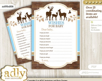 Boy Deer Wishes for a Baby Shower, Well Wishes Blue Brown Baby Deer Shower DIY Wood -aa89bsB6