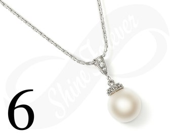 Set of 6 Necklaces Bridal Pearl Necklace Bridesmaid Necklace Bridesmaid Gifts Bridesmaid Pearl Bridesmaid Necklace Wedding Bridal Jewelry