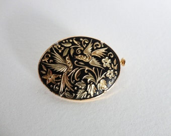 Vintage Damascene Birds & Flowers Brooch Pin Signed ia