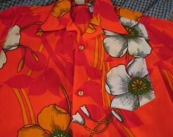 Vintage 60s Hawaii Hawaiian Shirt Neon Orange