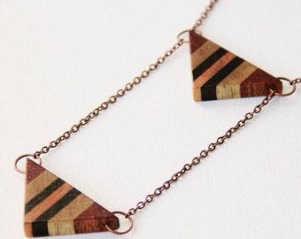Triangle pendant necklace.