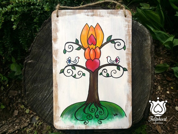 Life-Love tree, Hand painted, vintage, bamboo, wood Wall, home Décor, Wedding, Engagement, Gift for Lover. Tulip, Heart, Dove symbol