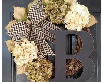 DOOR Wreath, Gold Wreath, Everyday Door Decor, Door Wreath, Hydrangea Wreath with Black Chevron Bow