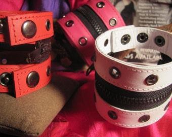Colored Cuff Zipper Leather Bracelet Adjustable