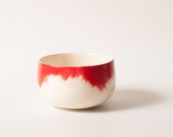 Handmade ceramic bowl with red brushstrokes 4.7″ wide / Soup bowl / Salad bowl / Contemporary ceramic design /