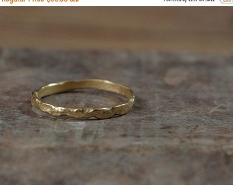 SALE Textured gold ring, Delicate gold ring, Thin gold ring, Simple gold ring, Free form golden ring, Textured ring
