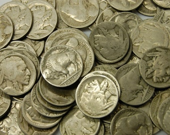 10 Indian Head Buffalo Nickels No Date - Great for Coin Collectors or Indian Head Jewelry - Old Coins - Buffalo Nickel
