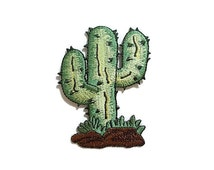 Lovely Green Cactus New Sew / Iron On Patch Embroidered Applique Size 6cm.x8cm.
