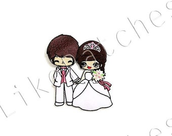Happy Soulmate Couple Bride & Groom, Bridegroom Wedding Dark Red Brown Hair Sew / Iron On Patch Embroidered Applique Size 7.5cm.x9cm.