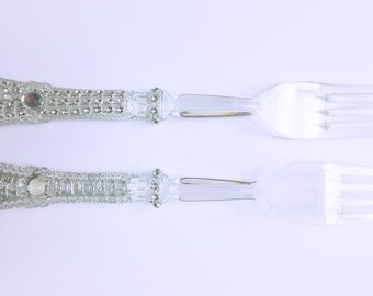 Faux Rhinestone Plastic Forks-Plastic Formal Flatware-Bling Forks-Glitz and Glam Party-Diamond Forks-Clear Party Forks-Wedding Decor