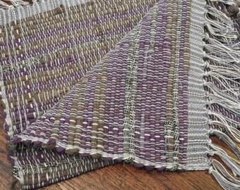 Loomed Rag Rug Purple Gray Brown