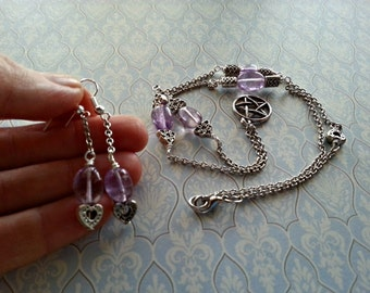 Small pentacle necklace, pentacle jewelry, subtle, delicate pentacle, amethyst beads, daily wicca, wiccan jewelry, Australian wicca