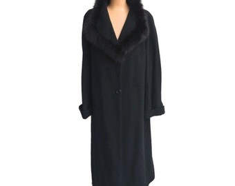 Black Wool Cashmere Coat Fur Collar Coat by Jimmy Hourihan