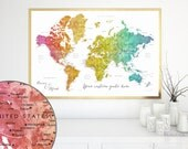 Personalized quote map - PRINTABLE world map with cities, colorful watercolor map, large art, personalized couple names, custom.  Map141 099
