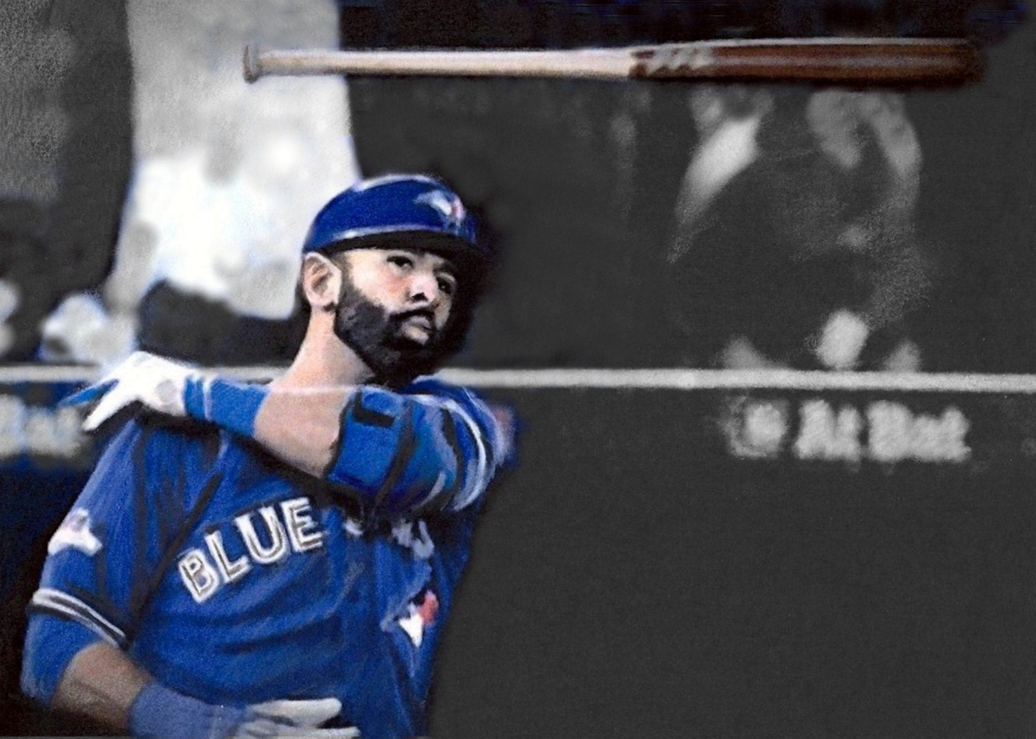 Drawing Blue Jays Bautista Bat Flip by likenessbycorry on Etsy