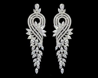 Vintage Deco Style chandelier bridal earrings, elegant bridal jewelry, statement bridal earrings, luxury bridal earrings