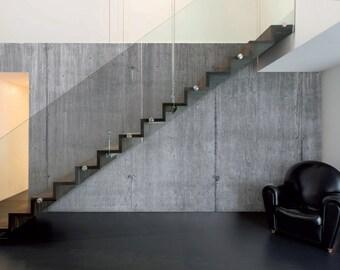 Faux Finish Industrial Concrete Slab Large Scale Mural - 4 Panels