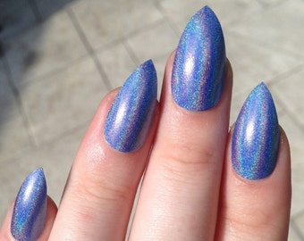 holographic nails, fake nails, stiletto nails, holographic, press on nails