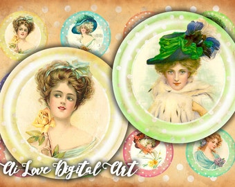 Instant download cabochon, shabby chic Vintage Ladies, digital collage sheet bottlecap images 1.5 inch, 30mm, 1 inch circle digital download
