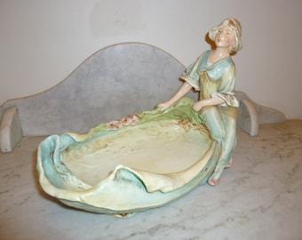 Art Nouveau polychrome porcelain figural centrepiece Royal Dux circa 1900