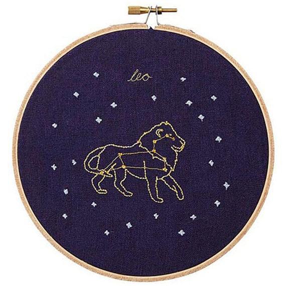 Leo (July 23 - August 22) zodiac embroidery