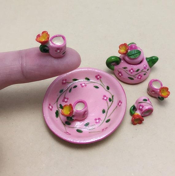 Miniature Tea Set,Miniature Coffee Set with Blue Flower,Miniature Chinese Tea Set,Miniature Sweet,Doll House,Handmade Miniature