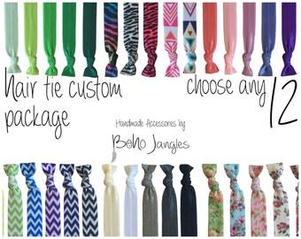 12 Mix Hair Ties, Custom Mix, Pick 12 Stretchy Hair Ties, Ponytail, Stretch Bracelets, Hair Elastics, Chevron, 12 Elastic Ties (HR-16)