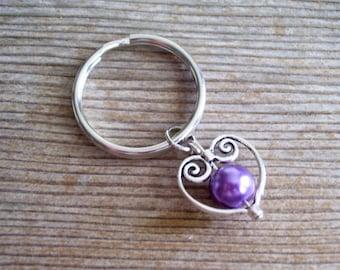 Heart Keychain, Filigree Silver Heart Key Chain, Sweetheart Keychain, Purple Pearl Bead, Purple and Silver Keychain, Heart Key Ring