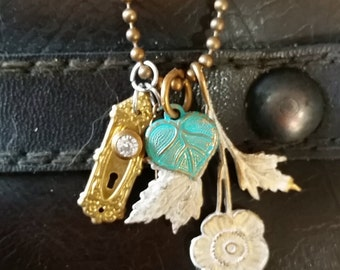 Floral Memory Necklace with Doorknob charm