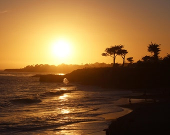 Santa Cruz Sunset, Ocean, Trees, Cliffs, Mountains, Central Coast, California