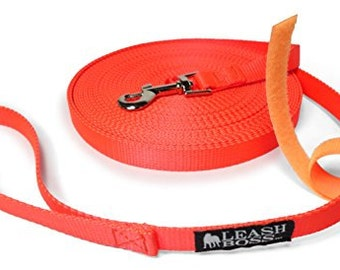 50 Foot Dog Leash - 3/4 Inch Nylon - Long Dog Leash with Storage Strap for Training & Play