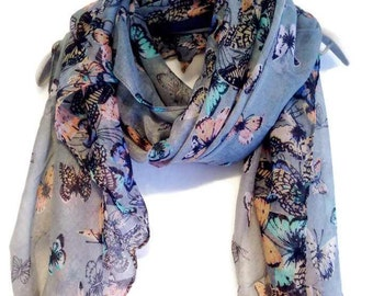 Butterfly Grey Summer Scarf / Spring Scarf / Gift For Her / Women Scarves / Fashion Accessories