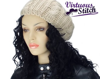 Satin Lined Knit Hat, Slouch Cap, Gifts for Her- Beige