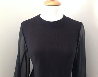 80's JC Penny, black Shift dress, size 12,