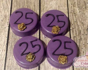 Purple and gold with Roses and number Chocolate Covered oreos. Baby Shower, Wedding Favors, Birthday parties. 1 dozen